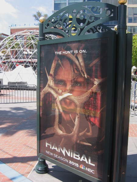 Hannibal poster with Comic-Con construction in background.
