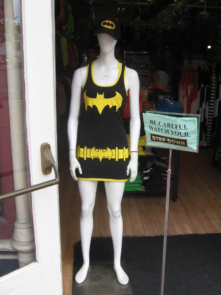 Batgirl costume on mannequin in local shop.
