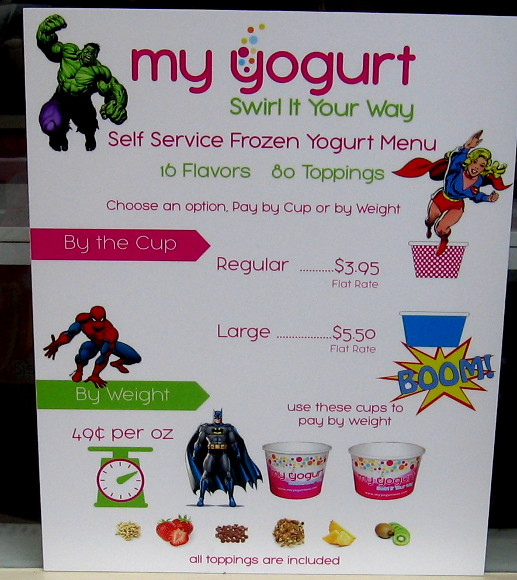 Yogurt sign with Hulk, Supergirl, Spidey and Batman!