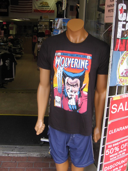 Wolverine comic book on a t-shirt.