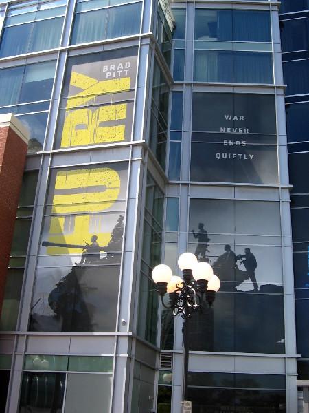 Brad Pitt's Fury on side of the Hard Rock Hotel.