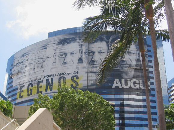 Huge Legends building wrap on Marriott Hotel features Sean Bean.