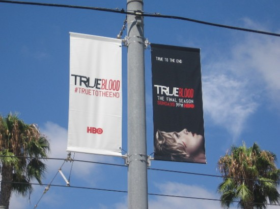 True Blood banners hang from San Diego trolley posts.