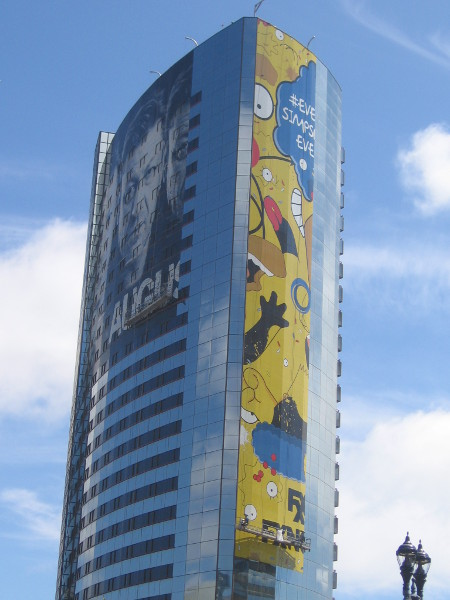 Huge Simpsons wrap being applied to Marriott!