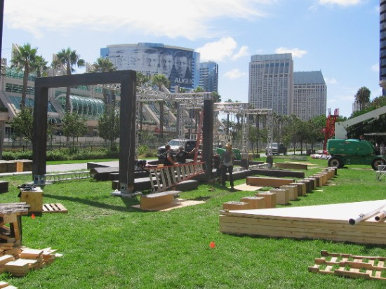 Assassin's Creed obstacle course being installed across Harbor Drive.
