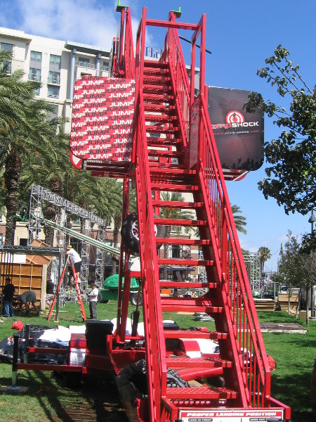 Obstacle course includes jumping and climbing.
