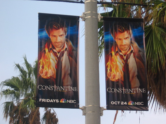 Constantine banners hang by the Gaslamp trolley station.