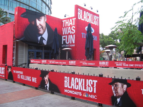 The Tin Fish restaurant completely covered with Blacklist graphics!