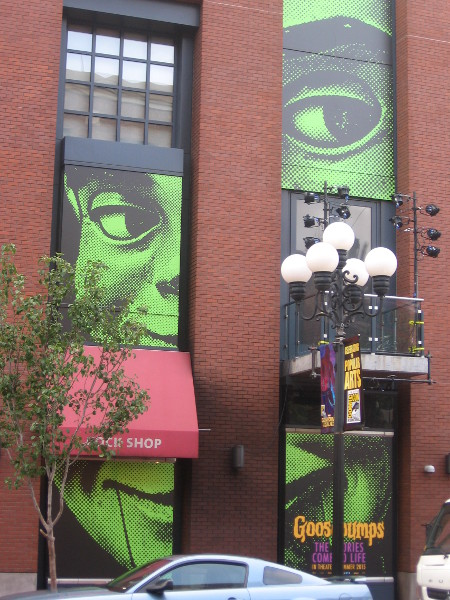Goosebumps green face peers from Hard Rock Hotel.