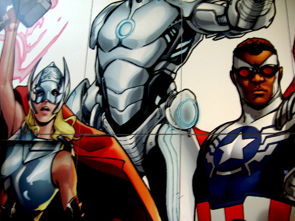 Huge Marvel mural contained the new Thor and Captain America.
