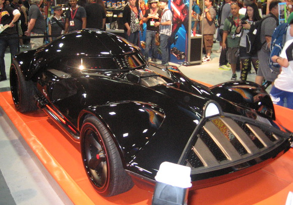 This is a special, huge Darth Vader Hot Wheels car!