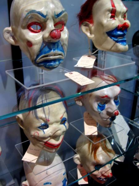 Clown masks used in heist scene in The Dark Knight.