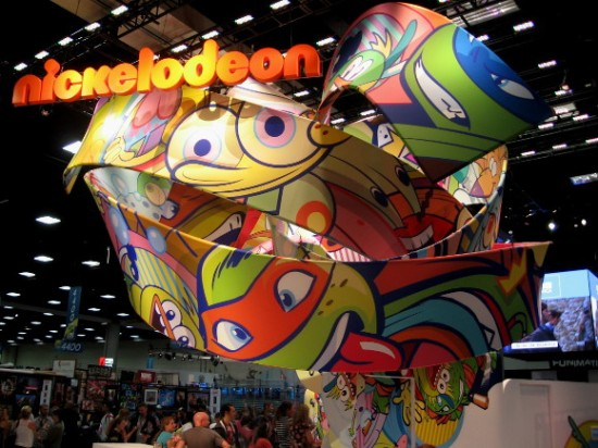 Bright cartoon faces hover above the Nickelodeon exhibit.