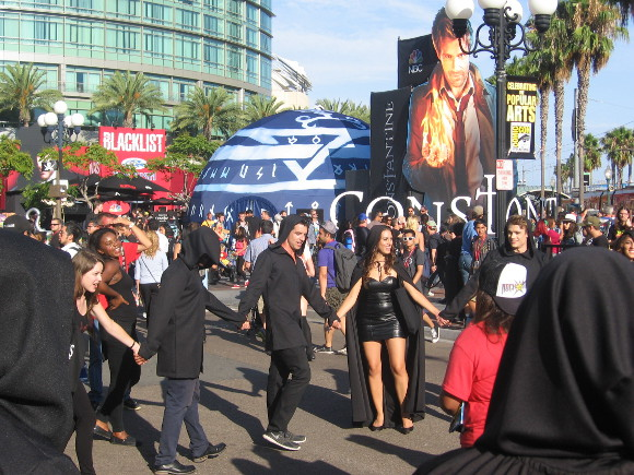 Witches were chanting in a circle by the Gaslamp trolley station.