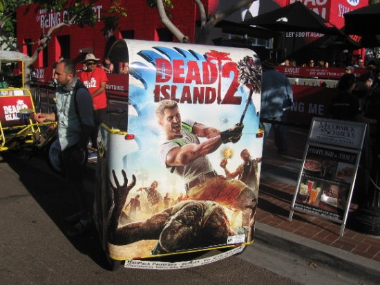 Dead Island 2 ad on back of enterprising pedicab.