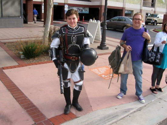 Boy shows cool costume as I cross street in Mission Valley this morning.