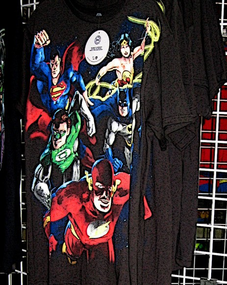 Justice League appears ready to fly off a shirt!