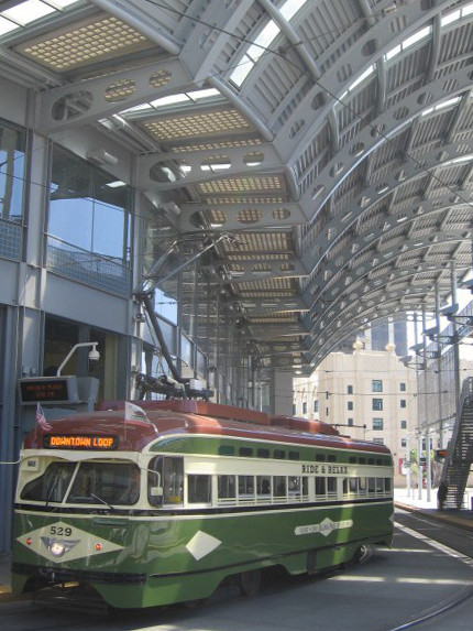 Silver Line trolley stops at America Plaza.