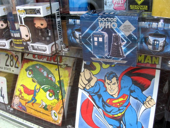 Superman in Gaslamp window with Doctor Who salt and pepper set.