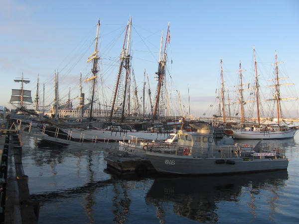 A view of tall ships participating in 2014 Festival of Sail on the Embarcadero.