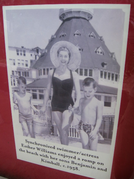 Esther Williams and sons on the beach.