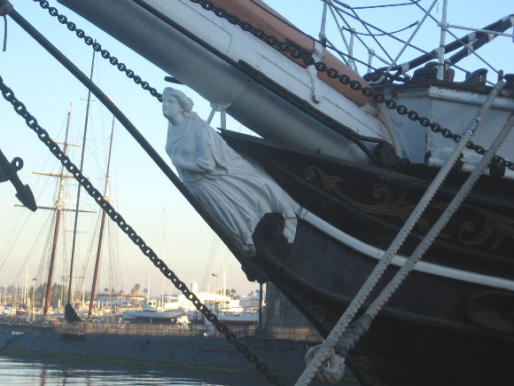 Female figure at the bow of San Diego's historic Star of India.