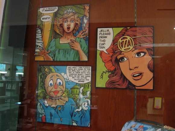 Colorful panels of Oz art catch the eye of library visitors.