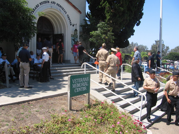On steps of Veterans Museum and Memorial Center in Balboa Park.