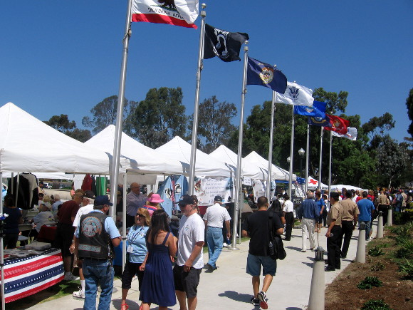 Tents line walkway where Spirit of 1945 event took place today.