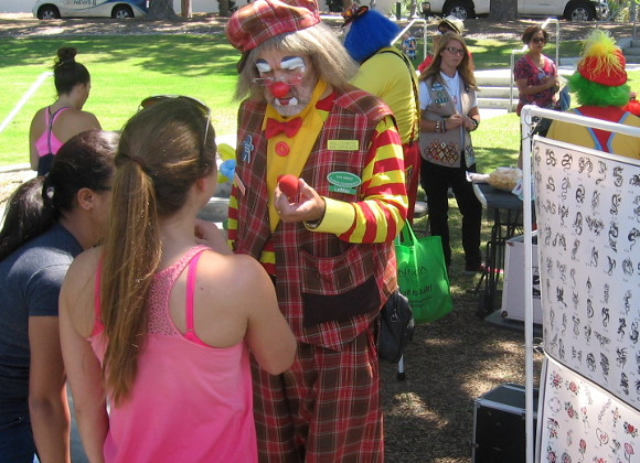 Clowns and face painters were there to entertain kids.