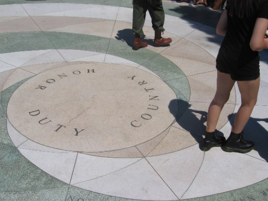 Duty Honor Country is at the center of a small circular plaza.