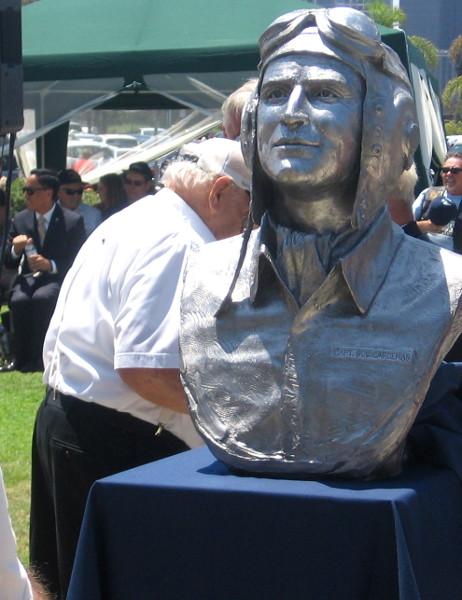 Bust of a brave World War II aviator.