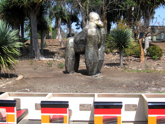 I wonder if this huge gorilla escaped from the nearby San Diego Zoo.