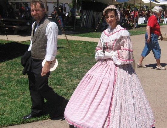 Costumed participants were roaming about the central plaza of historic Old Town.