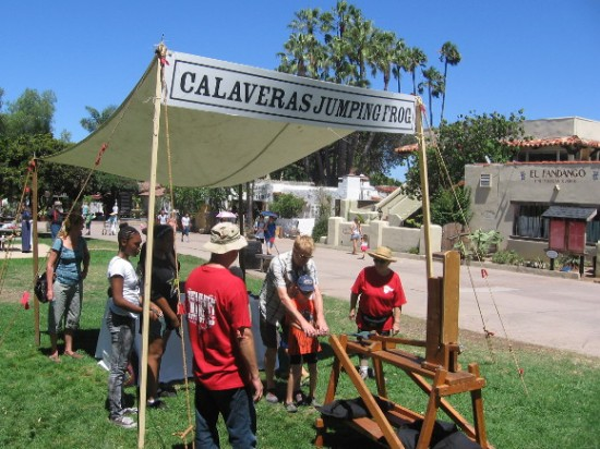 The Jumping Frog of Calaveras County readies to soar from a catapult!