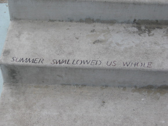 Summer swallowed us whole, written randomly on a step.