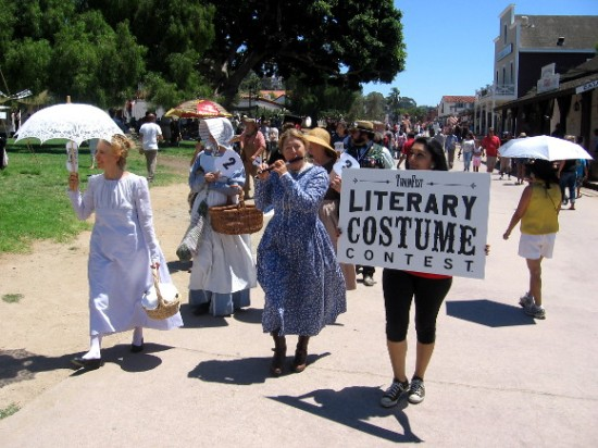 Here come participants in the literary costume contest!