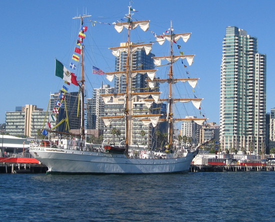 Mexican Navy training ship ARM Cuauhtémoc docked in San Diego Bay.