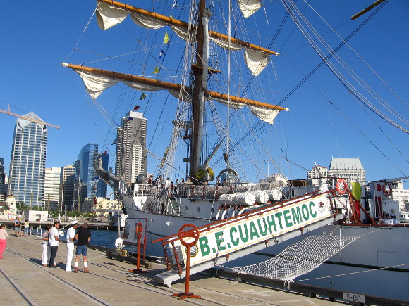 Free tour of the huge tall ship could be enjoyed beside cruise ship terminal.