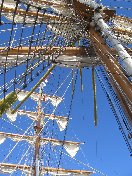 On board, looking straight up the center mast.