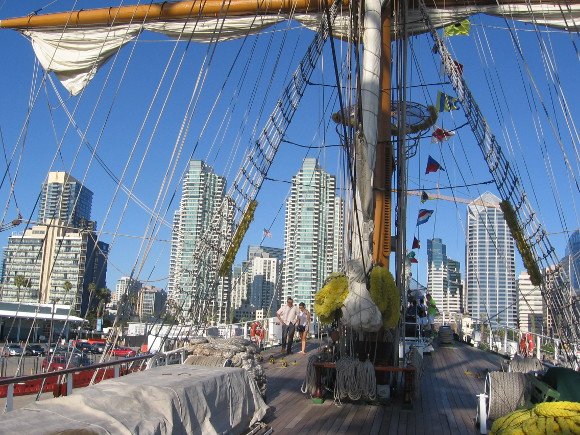 A view of downtown skyscrapers from the Mexican tall ship's foredeck.