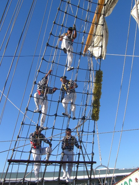 Sailors begin a drill by climbing the shrouds.