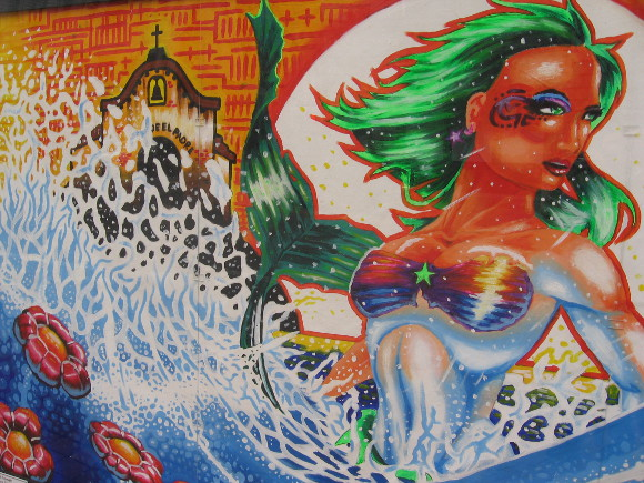 A sexy green-haired mermaid and Mission San Diego!
