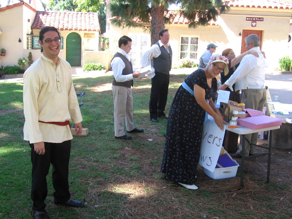 Members of Jane Austen Society in San Diego prepare to perform a play.