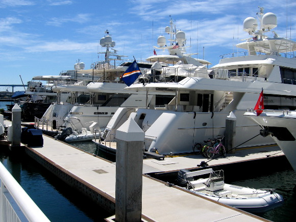 A row of private yachts docked in downtown San Diego.