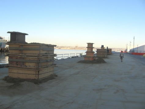 World Masters Class sand sculptures prepped on San Diego's B Street Pier.