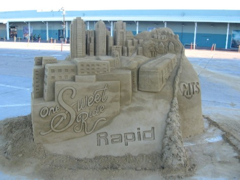 The San Diego skyline sculpture promotes new MTS Rapid bus route.