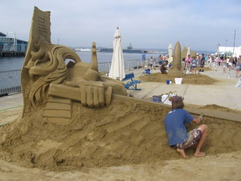 Chris is married to a master sand sculptor who's in the Guinness Book of World Records.