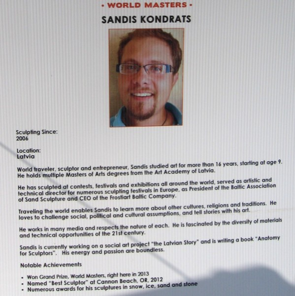 Sandis Kondrats hails from Latvia! He won the Grand Prize at last year's competition!