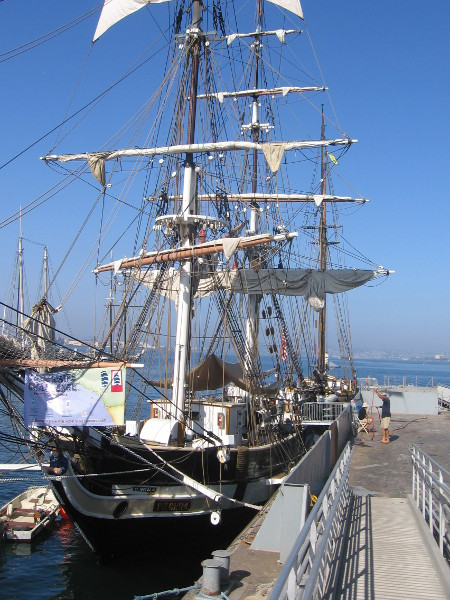 Walking down to the Pilgrim, docked among many cool sailing ships.
